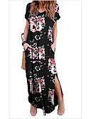 Χαμηλού Κόστους Μακριά Φορέματα-Γυναικεία T Shirt Φόρεμα Μακρύ Λαιμόκοψη V