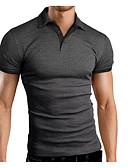 ราคาถูก เสื้อโปโลสำหรับผู้ชาย-สำหรับผู้ชาย Polo คอเสื้อเชิ้ต สีพื้น สีดำ
