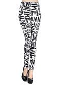 ราคาถูก กางเกงผู้หญิง-สำหรับผู้หญิง พื้นฐาน ที่ปกคลุมขา - ลายตัวอักษร, ลายพิมพ์ เอวสูง ขาว ขนาดเดียว / สกินนี่