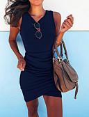 billige Uformelle kjoler-Dame Grunnleggende Tynn Kroppstett Kjole Kjole - Ensfarget V-hals Asymmetrisk