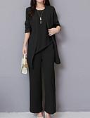 ราคาถูก จั๊มสูทและเสื้อคลุมสำหรับผู้หญิง-สำหรับผู้หญิง ขนาดพิเศษ พื้นฐาน ชุด - สีพื้น กางเกง