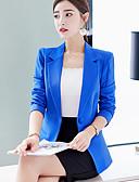 baratos Blazers Femininos-Mulheres Terno, Sólido Lapela Chanfrada Poliéster / Elastano Rosa / Azul Claro / Azul Real
