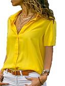 billige Bluser-Tynn Skjortekrage Skjorte Dame - Ensfarget Svart