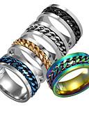 ราคาถูก กางเกงผู้ชาย-สำหรับผู้ชาย แหวน 1pc สีดำ เงิน / ดำ สีดำและสีทอง เหล็กกล้าไร้สนิม ทุกวัน เทศกาล เครื่องประดับ รูปแบบคลาสสิก สไตล์สมัยใหม่ แฟชั่น โซ่ ถูก