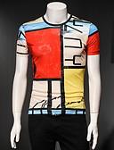 ราคาถูก เสื้อยืดและเสื้อกล้ามผู้ชาย-สำหรับผู้ชาย เสื้อเชิร์ต คอกลม ลายบล็อคสี ทับทิม