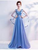 זול שמלות נשף-גזרת A מחשוף V שובל סוויפ \ בראש טול שמלה עם חרוזים / נצנצים / אפליקציות על ידי LAN TING Express