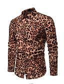 baratos Camisas Masculinas-Homens Camisa Social Leopardo Algodão Vermelho