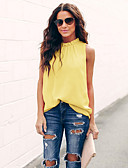 baratos Blusas Femininas-Mulheres Camiseta Sólido Solto Azul Claro