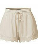 ราคาถูก กางเกงผู้หญิง-สำหรับผู้หญิง พื้นฐาน ขนาดพิเศษ กางเกงขาสั้น กางเกง - สีพื้น ลูกไม้ เอวสูง สีดำ ขาว ส้ม S M L