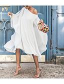 זול שמלות מודפסות-שמלת נדנדה, אורך הברך, לבן, צהוב, כחול, ים, ll