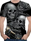 ราคาถูก เสื้อยืดและเสื้อกล้ามผู้ชาย-สำหรับผู้ชาย ขนาดของยุโรป / อเมริกา เสื้อเชิร์ต ลายพิมพ์ คอกลม ลายบล็อคสี / 3D / กระโหลก สีดำ