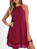 ราคาถูก เสื้อเชิ้ตสำหรับสุภาพสตรี-สำหรับผู้หญิง Street Chic ชีฟอง แต่งตัว สีพื้น ขนาดเล็ก
