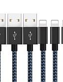 זול כבל & מטענים iPhone-1m תאריך כבל USB עבור iPhone 8 7 6 6s פלוס 5 se ניילון קלוע מהיר טעינה כבל תאורה עבור כבל כבל iPhone כבל