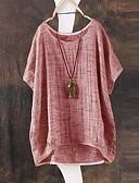 ราคาถูก เสื้อยืดสำหรับสุภาพสตรี-สำหรับผู้หญิง เสื้อเชิร์ต หลวม สีพื้น ใบไม้สีเขียวที่มีสามแฉก