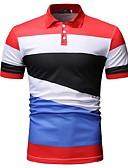 ราคาถูก เสื้อโปโลสำหรับผู้ชาย-สำหรับผู้ชาย Polo คอเสื้อเชิ้ต ลายบล็อคสี สีดำ / แขนสั้น