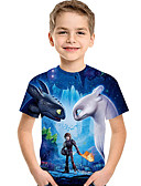 baratos Conjuntos para Meninas-Infantil Bébé Para Meninos Activo Básico Estampado Estampado Manga Curta Camiseta Azul