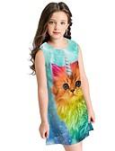 ราคาถูก เดรสเด็กผู้หญิง-เด็ก เด็กผู้หญิง สัตว์ กระโปรงชุด สีน้ำเงิน