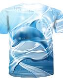 זול טישרטים לגופיות לגברים-חיה צווארון עגול טישרט - בגדי ריקוד גברים דפוס כחול בהיר