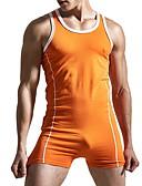 ราคาถูก เบลเซอร์ &สูทผู้ชาย-สำหรับผู้ชาย สีดำ ส้ม ทับทิม เพรียวบาง Romper Onesie, สีพื้น M L XL