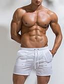 ราคาถูก กางเกงผู้ชาย-สำหรับผู้ชาย พื้นฐาน ขนาดของยุโรป / อเมริกา เพรียวบาง กางเกงขาสั้น กางเกง - สีพื้น ขาว สีดำ สีฟ้า L XL XXL