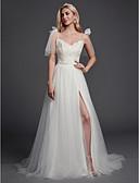 ราคาถูก Special Occasion Dresses-A-line สายสปาเกตตี้ ชายกระโปรงลากพื้น ลูกไม้ / Tulle ชุดแต่งงานที่ทำขึ้นเพื่อวัด กับ เข็มกลัด / โบว์ โดย LAN TING BRIDE®