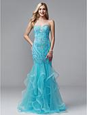 Χαμηλού Κόστους Βραδινά Φορέματα-Τρομπέτα / Γοργόνα Καρδιά Μακρύ Τούλι / Ζέρσεϊ Κομψό & Πολυτελές / Beaded & Sequin Επίσημο Βραδινό Φόρεμα 2020 με Χάντρες / Με διαδοχικές σούρες