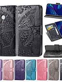 billige Etuier/deksler til Huawei-Etui Til Huawei Huawei P Smart 2019 / Huawei Y7 Pro (2019) / Huawei Y6 (2019) Lommebok / Kortholder / med stativ Heldekkende etui Sommerfugl / Blomsternål i krystall Myk PU Leather