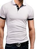 ราคาถูก เสื้อโปโลสำหรับผู้ชาย-สำหรับผู้ชาย ขนาดพิเศษ Polo ฝ้าย ลายต่อ คอเสื้อเชิ้ต สีพื้น ทับทิม