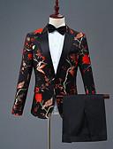 povoljno Odijela-Crn Patterned Uski kroj Poliester Odijelo - Šiljasti Droit 1 bouton / odijela