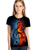 cheap Women's T-shirts-Women's Street chic / Exaggerated Plus Size T-shirt - Color Block / 3D / Graphic Print Blue