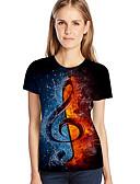 ราคาถูก เสื้อยืดสำหรับสุภาพสตรี-สำหรับผู้หญิง ขนาดพิเศษ เสื้อเชิร์ต Street Chic / ที่พูดเกินจริง ลายพิมพ์ ลายบล็อคสี / 3D / กราฟฟิค สีน้ำเงิน