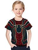 olcso Férfi pólók és kardigánok-Gyerekek Kisgyermek Lány Aktív Alap Mértani Nyomtatott Nyomtatott Rövid ujjú Póló Rubin