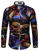 povoljno Muške košulje-Veličina EU / SAD Majica Muškarci Pamuk Duga / Životinja Klasični ovratnik Print Duga