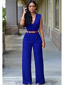 abordables Combinaisons Femme-Femme Basique / Chic de Rue Ample Ample Pantalon - Couleur Pleine Taille haute Fuchsia Vert Véronèse Bleu Roi L XL XXL