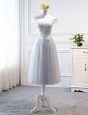 Χαμηλού Κόστους Φορέματα Παρανύμφων-Γραμμή Α Ώμοι Έξω Κάτω από το γόνατο Τούλι Φόρεμα Παρανύμφων με Διακοσμητικά Επιράμματα