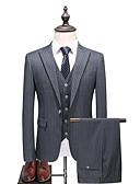Χαμηλού Κόστους Κοστούμια-Γκρίζο Ριγέ Στενή εφαρμογή Πολυεστέρας Κοστούμι - Μύτη Μονόπετο Ενός Κουμπιού / Στολές
