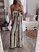 ราคาถูก จั๊มสูทและเสื้อคลุมสำหรับผู้หญิง-สำหรับผู้หญิง สายรุ้ง ขากว้าง ชุด Jumpsuits Onesie, ลายแถบ / สายรุ้ง S M L