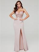 Χαμηλού Κόστους Βραδινά Φορέματα-Ίσια Γραμμή Λεπτές Τιράντες Μακρύ Σατέν / Με πούλιες Σέξι / Κομψό Επίσημο Βραδινό Φόρεμα 2020 με Χάντρες / Πούλιες