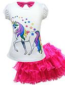 זול שמלות לבנות-סט של בגדים כותנה שרוולים קצרים תחרה דפוס Unicorn פעיל / סגנון רחוב בנות ילדים / פעוטות