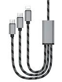 זול כבל & מטענים iPhone-מיקרו USB / תאורה / סוג C Adapteri / כבל 1.3M (4.3Ft) הכל ב-1 / 41642.0 / תשלום מהיר אלומיניום מתאם כבל USB עבור סמסונג / Huawei / LG