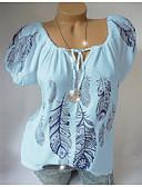 ราคาถูก เสื้อเชิ้ตสำหรับสุภาพสตรี-สำหรับผู้หญิง ขนาดพิเศษ เสื้อเชิร์ต คอวี รูปเรขาคณิต ขาว
