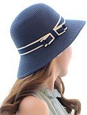 billige Hatter til damer-Dame Aktiv Grunnleggende søt stil Stråhatt Solhatt Fargeblokk Strå Vår Sommer Beige Navyblå Kakifarget