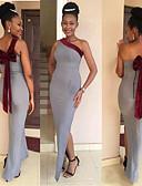 ราคาถูก Special Occasion Dresses-ทรัมเป็ต / เมอร์เมด ไหล่เดียว ลากพื้น เจอร์ซี่ เพื่อนเจ้าสาวชุด กับ โบว์ โดย JUDY&JULIA