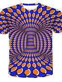 Χαμηλού Κόστους Ανδρικά μπλουζάκια και φανελάκια-Ανδρικά T-shirt 3D Στρογγυλή Λαιμόκοψη Στάμπα Θαλασσί / Κοντομάνικο