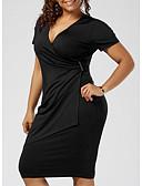 ราคาถูก เดรสพลัสไซซ์-สำหรับผู้หญิง ขนาดพิเศษ พื้นฐาน เข้ารูป ปลอก แต่งตัว สีพื้น ยาวถึงเข่า คอวีลึก