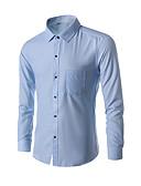 baratos Camisas-Homens Camisa Social Sólido Preto