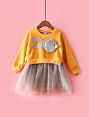זול סטים של ביגוד לתינוקות-שמלה כותנה מידי שרוול ארוך רשת / טלאים קולור בלוק פעיל בנות תִינוֹק / פעוטות