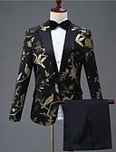 povoljno Odijela-Crn Patterned Kroj po mjeri Poliester Odijelo - Stepenasti Droit 1 bouton / odijela