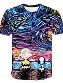 baratos Camisetas & Regatas Masculinas-Homens Tamanhos Grandes Camiseta Básico Estampado, Galáxia / 3D Decote Redondo Arco-íris XXXXL / Manga Curta