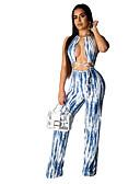ราคาถูก จั๊มสูทและเสื้อคลุมสำหรับผู้หญิง-สำหรับผู้หญิง โบโฮ คล้องไหล่ สีน้ำเงิน ชุด Jumpsuits Onesie, ลายแถบ ลายพิมพ์ S M L